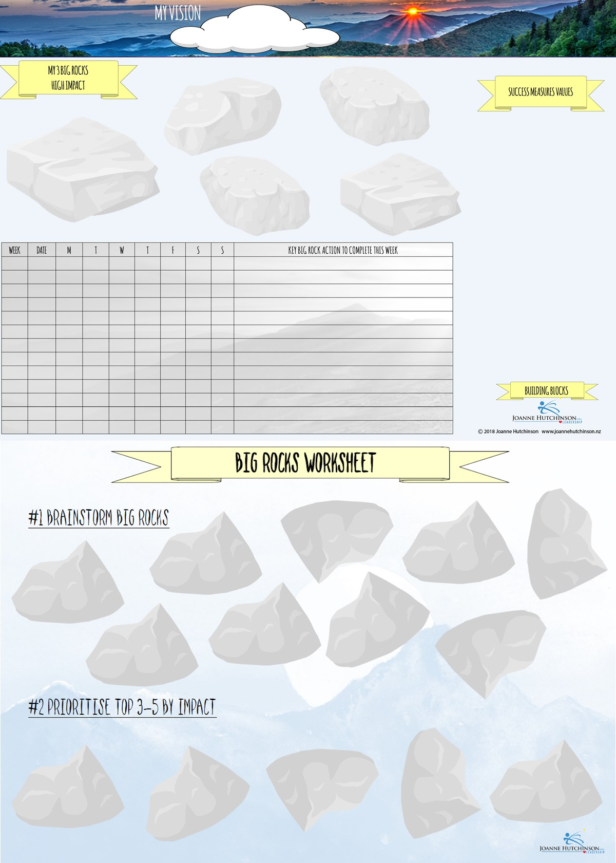 Big Rocks Worksheets Sample